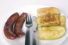 Free Grilled Sausages And Zucchini On The Plate Stock Photo - 14245150