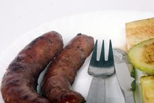 Free Grilled Sausages And Zucchini On The Plate Stock Photo - 14245180