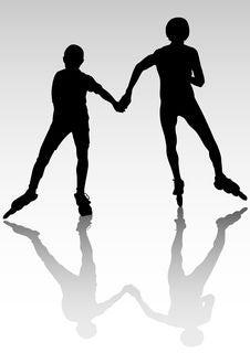 Couple Athletes On Skates Stock Images