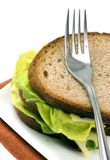 Dark Bread Sandwich With Standing Fork, Isolated Royalty Free Stock Photos
