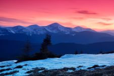 Dawn In Mountains Royalty Free Stock Photo