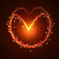 Burning Heart With Sparkles Stock Photo