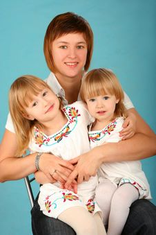 Free Mother With Two Daughters Stock Photography - 14247492