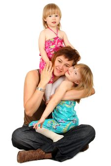 Mother With Two Daughters Stock Photo