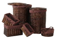 Straw Baskets. Over White Royalty Free Stock Images