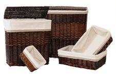 Straw Baskets. Over White Stock Photography