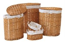 Straw Baskets. Over White Royalty Free Stock Photo