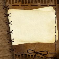 Free Old Cardboard Background For Design With Rope Stock Images - 14248324