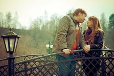 Free Kissing On A Bridge Royalty Free Stock Photo - 14248935