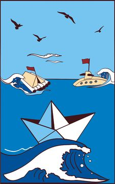 Free Paper Toy-ship At Sea Royalty Free Stock Photos - 14249168