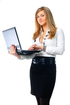 Free Business Woman With Laptop Stock Image - 14249401