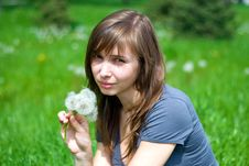 Teen Girl With Dandelions Stock Photos