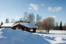 Free Small Wooden House In Winter. Stock Images - 14249494