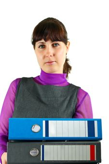 Free Girl With Folders Stock Photography - 14249592