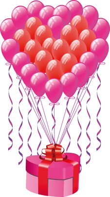Free Balloons  With Gift Box Royalty Free Stock Photography - 14249837