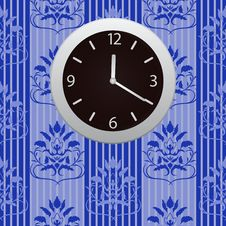 Free Clocks Hanging On A Wall With Wallpaper Royalty Free Stock Image - 14250146