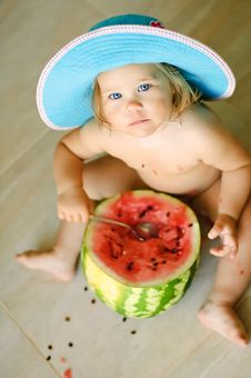 Free Water-melon And Cute Baby Girl Stock Photo - 14250790