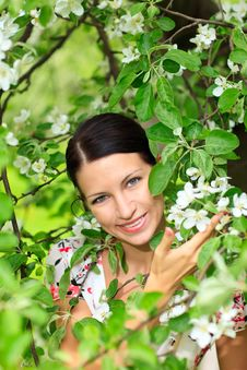 Free Woman With Flowering Tree Royalty Free Stock Photos - 14251188
