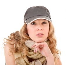 Young Girl With A Baseball Cap Stock Image