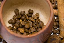 Free Coffee Beans In Cup Close-up Royalty Free Stock Images - 14251339