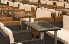 Empty Terrace Chairs And Table Royalty Free Stock Photo