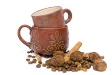 Two Cups For Coffee And Coffee Beans Stock Images