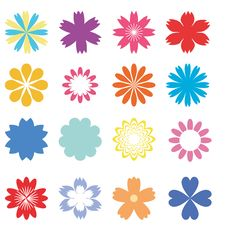 Free Set With Flowers Royalty Free Stock Image - 14252406