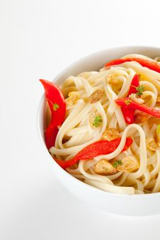 Spaghetti Bowl With Garlic And Pepper Royalty Free Stock Photo