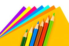 Free Multicolored Paper And Pencils Stock Image - 14252871