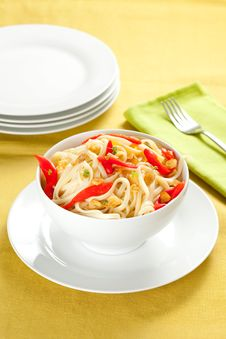 Spaghetti Bowl With Garlic And Pepper Royalty Free Stock Image