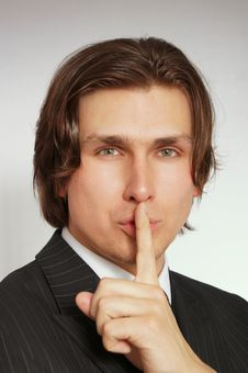 Free Businessman Shows Silence Royalty Free Stock Images - 14253749