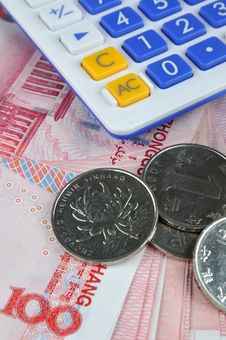Money Note And Coins With Calculator Stock Photography