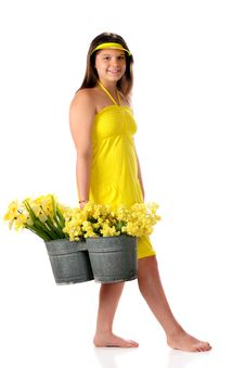 Free Young Teen Flower Girl Stock Photo - 14255110