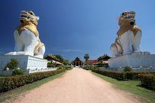 Guardian Lions Statue At Karnjanaburi Royalty Free Stock Photography