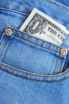 Money In The Pocket Of A Blue Jeans Royalty Free Stock Image