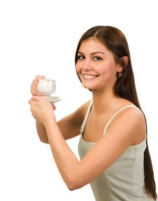 Girl With Cap Of Coffee Royalty Free Stock Photos
