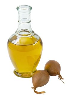 Free Bottle Of Olive Oil With Onion, Isolated Stock Photography - 14256942