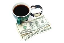 Free Coffe, Money And Watch Stock Photos - 14257003