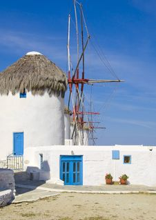 Windmills On The Hill Of Mykonos Royalty Free Stock Photo