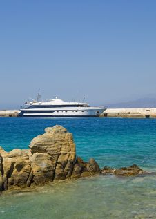 White-blue Yacht Docked In The Port On The Island Royalty Free Stock Photo