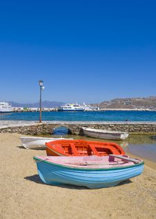 Fishing Boats On Sandy Beach Mykonos Stock Photo