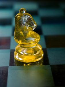 Free Knight A Glass Chess Piece Stock Images - 14257554