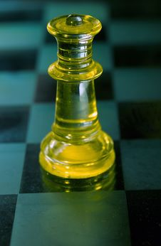 Queen A Glass Chess Piece Royalty Free Stock Photos