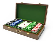 Free Box For A Gambling Chips Royalty Free Stock Images - 14260759