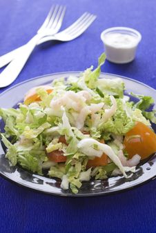 Fresh Salad With Shrimp And Tomato Stock Images