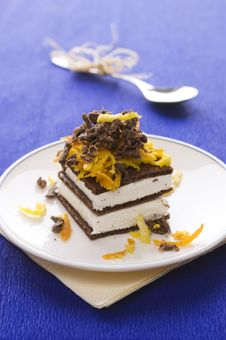 Chocolate Cake With Orange And Bizet Royalty Free Stock Photos