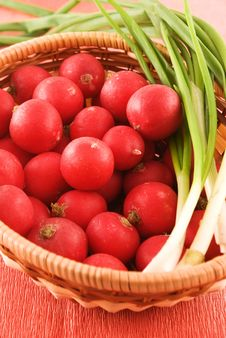 Full Wicker Basket With Radish And Onion Royalty Free Stock Images