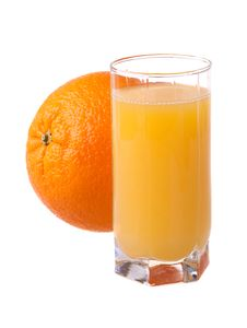 Glass Of Fresh Orange Juice With Ripe Orange Stock Image