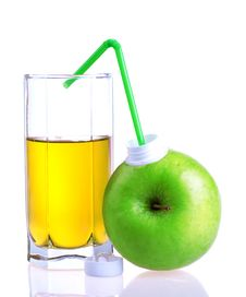 Glass Of Apple Juice With Apple Package Royalty Free Stock Photos