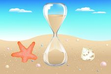 Free Sand Clock On Seaside. Vector Royalty Free Stock Photos - 14263528